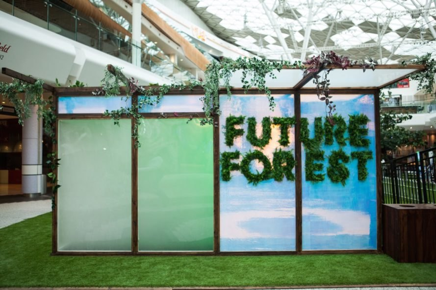 Future Forest Westfield, Future Forest London, Future Forest by Bompas & Parr, Future Forest UK, UK only indoor zip-line, indoor zip-line London, Fruit Cloud by Bompas & Parr, Future Forest indoor installation,