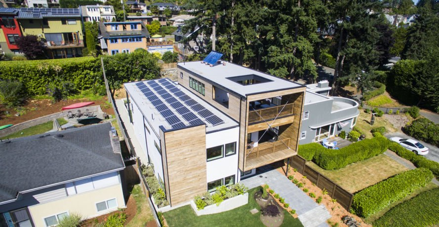 Genesee Park residence, net zero house, net zero, Seattle, rooftop terrace, sustainably harvested wood, wood siding, Dwell Development, First Lamp Architecture, green architecture, 5-Star Built Green certification, green certification, airtight envelope, solar array, solar power, natural light