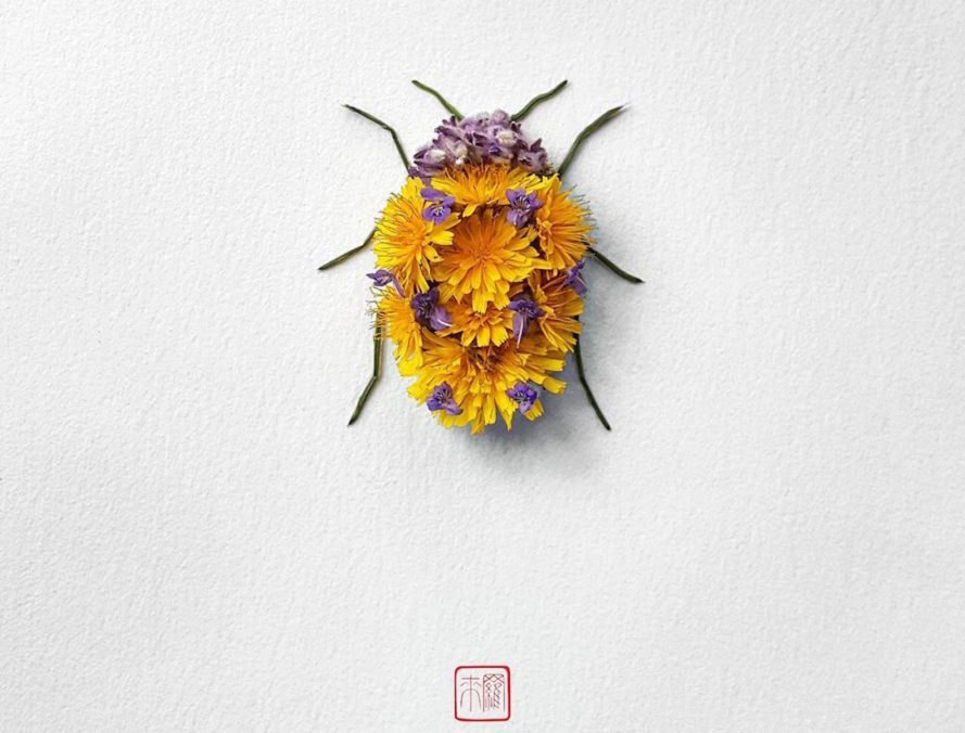 Natura Insects by Raku Inoue, flower arrangement by Raku Inoue, Reikan apparel, challengeofthe9, insects made of flower petals, flower petal sculptures,