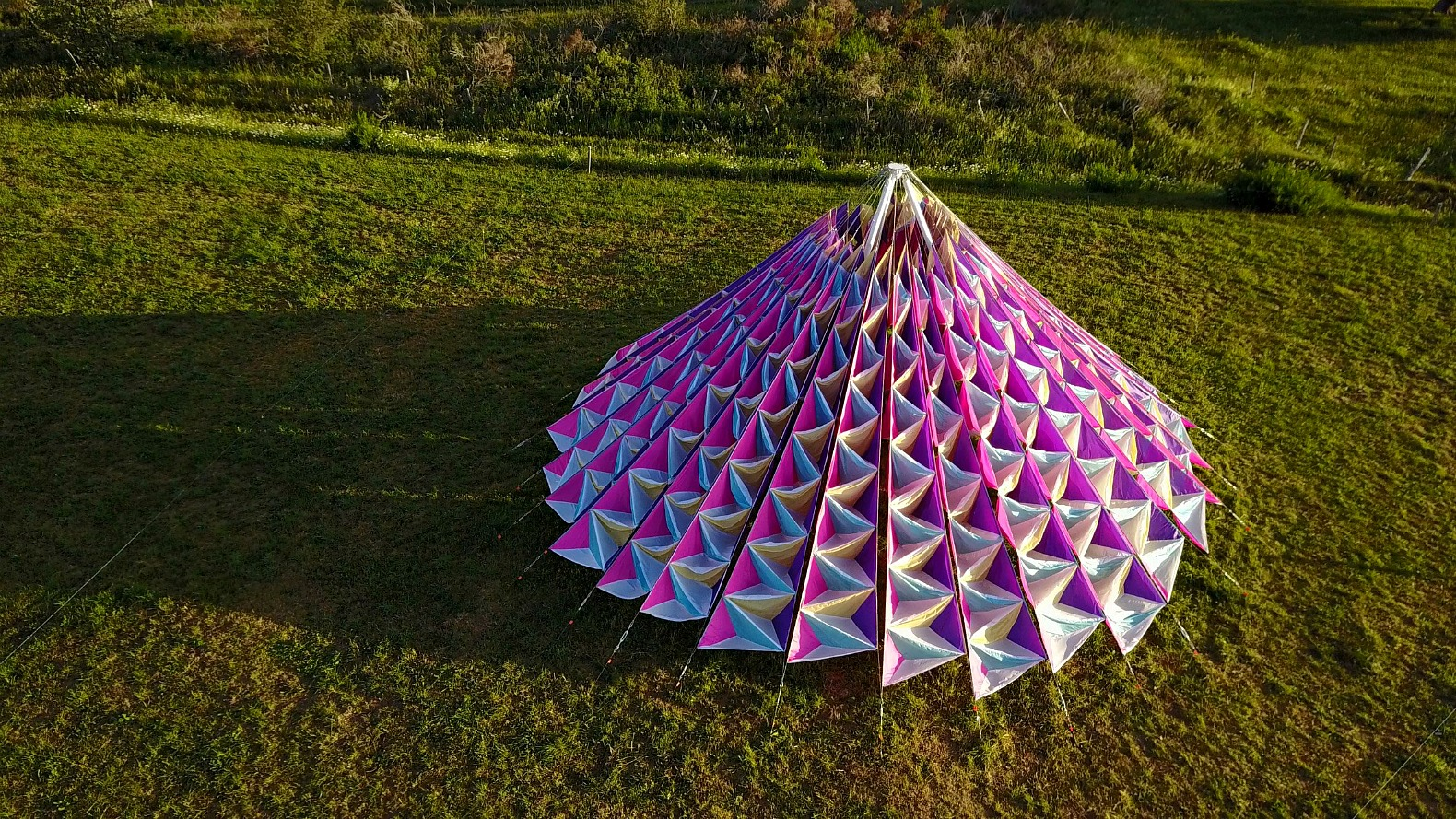 Titled Wind Cathedral Neon studio Victor-Saint-la Riviere art installations & Colorful tent cathedral in French village billows peacefully in ...