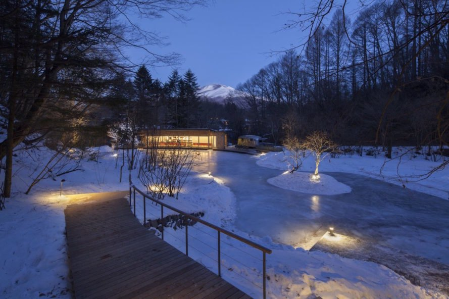Picchio Ice Rink Visitors Center by Klein Dytham architecture, Picchio Ice Rink Visitors Center, Picchio Ice Rink, semi-natural ice rink, cedar shingle facade, Studio on Site, Mount Asama resort, Hoshinoya resort architecture, KERA-IKE ice rink,