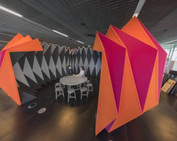 PleatPod RMIT University PleatPod by Zilka Studio, PleatPod by Jenny Underwood, pop up meeting pavilion, pop up meeting space, pop up meeting pod for open-plan offices, origami like architecture,