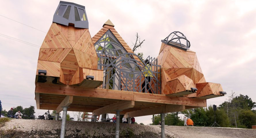 Prism Cabin, temporary installation, cabin, France, Lou Andréa Lassalle, Refuges Périurbains, Zebra3, temporary structure, stained glass, pyramid, lookout tower