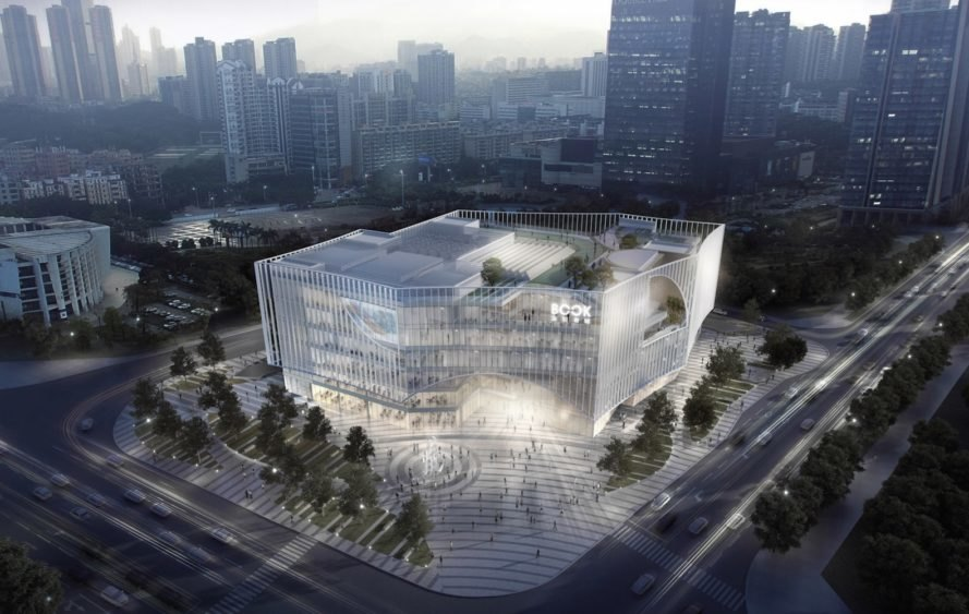 Shenzhen Book City by Atelier Global, Shenzhen Book City, Long Hua arts district Shenzhen, breathable skin architecture, mixed use public space and library in China,