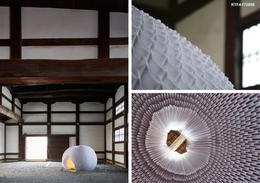 Shi-An by Katagiri Architecture + Design, Katagiri Architecture + Design teahouse, Shi-An teahouse, RTFA 2017 Awards winner, Nijo-Jo Castle installation, Kyoto contemporary teahouse, nomadic teahouse, origami teahouse, origami architecture, washi architecture, modular teahouse,