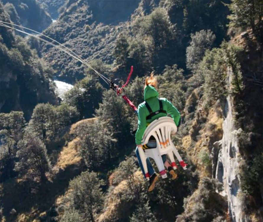 Shotover Canyon, Shotover canyon swing, Shotover Canyon fox, world's highest cliff drop, cliff drop, tourism, New Zealand, New Zealand tourism, Chair of Death, canyon zip line, canyon swing, travel