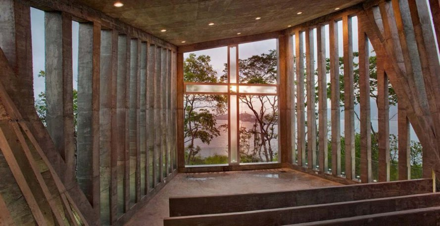 Sunset Chapel, Bunker Arquitectura, concrete, chapel, Mexico, green architecture, natural light, granite, religious architecture