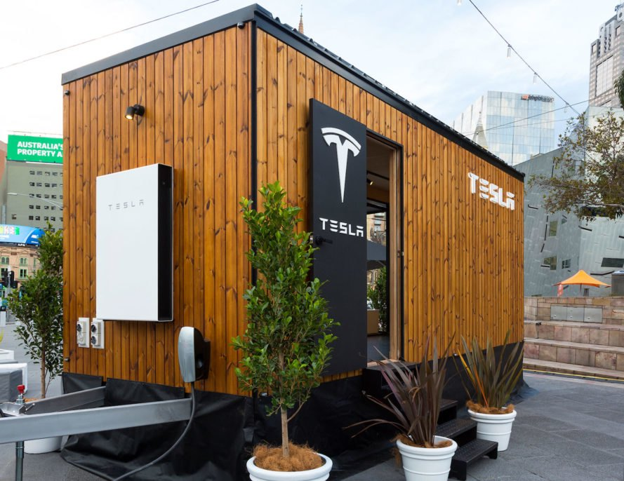 Tesla, Tesla Tiny House, Australia, tiny house, tiny houses, tiny home, tiny homes, Model X, Tesla Model X, timber, renewable energy, renewable technology, clean technology, solar, solar power, solar energy, Powerwall, energy storage, design, mobile design studio