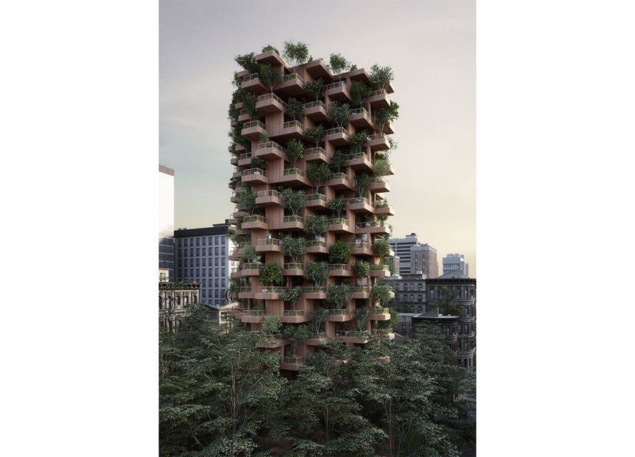 Toronto Tree Tower by Penda, vertical forest in Toronto, Toronto Tree Tower, prefab cross laminated timber constructer, CLT apartments, CLT balconies, timber architecture toronto, timber high rise