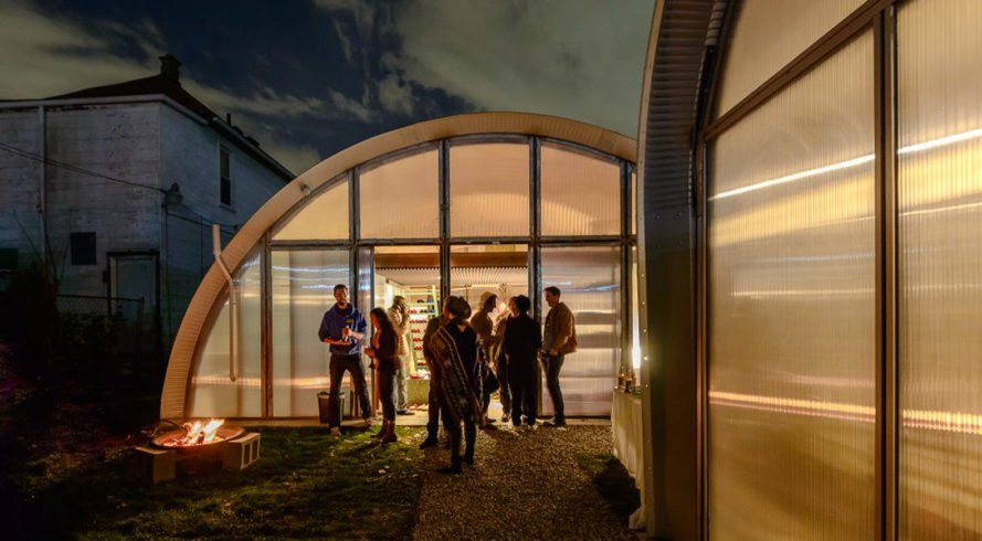 EC3, Edwin Chan, True North Detroit, sustainable community, Detroit, urban regeneration, prefab building, Quonset huts, vaulted ceilings, polycarbonate, translucent envelope, translucent facade, green architecture, affordable housing