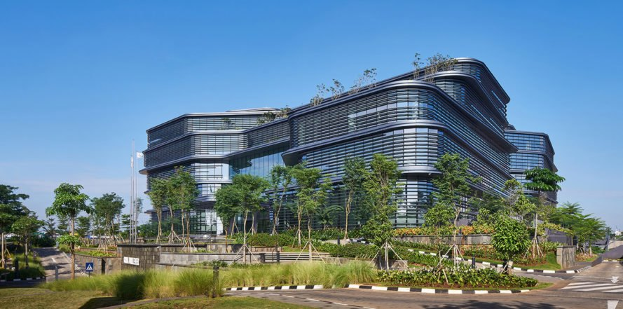 Aedas, Unilever HQ, office building, Jakarta, Indonesia, green architecture, aluminium facade, louvers, recycled timber, teak, natural light, curtain wall