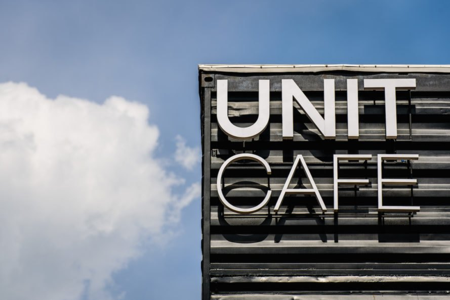 Unit Cafe by TSEH Architectural Group, Unit Cafe in Kiev, Unit Cafe at Unit Factory, Unit Factory school, Unit Factory Kiev, TSEH Architectural Group shipping containers, shipping container architecture Kiev, cargotecture cafe