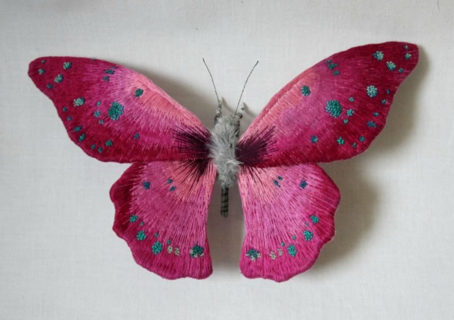 Yumi Okita, moth sculptures, fiber art, insect art, fabric sculptures, miniature sculptures, butterfly art, moth art, textile moth art, embroidered moths, embroidery art, diy art, etsy artists, intricate moth art, animal scupltures, textile artwork, textile sculptures