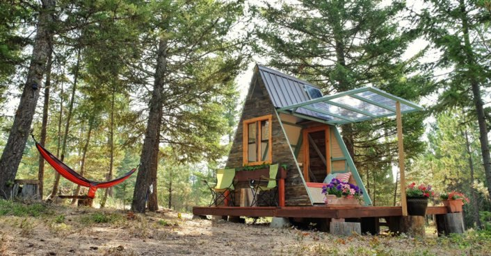 Couple builds tiny A-frame cabin in three weeks for only $700