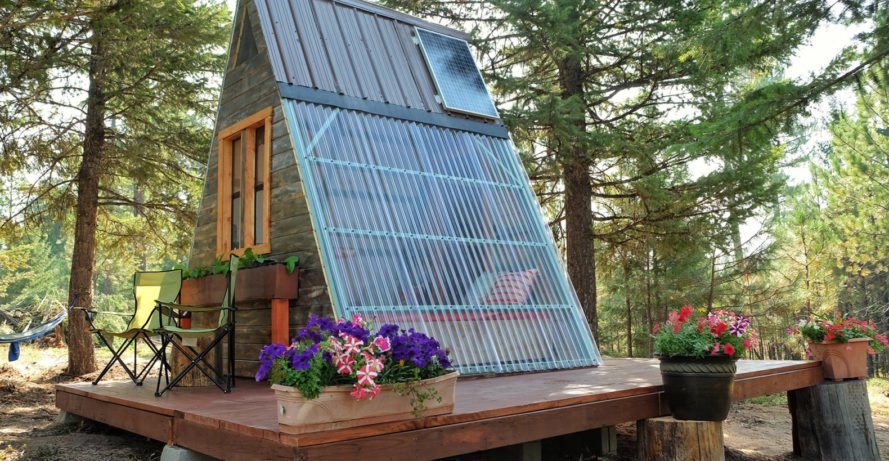 A-frame cabin, Montana, tiny house, Derek Diedricksen, affordable house, DIY cabin, solar power, solar panels, green architecture, Alla Ponomareva