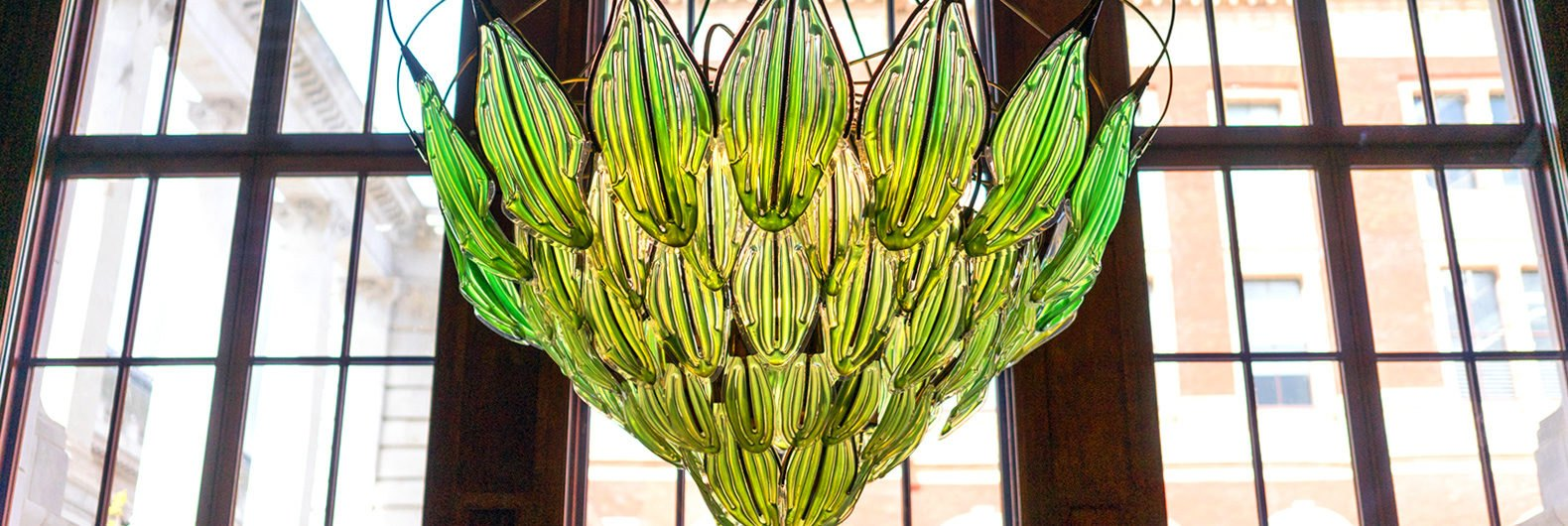 Extraordinary living chandelier with algae filled leaves purifies extraordinary living chandelier with algae filled leaves purifies the air aloadofball Images