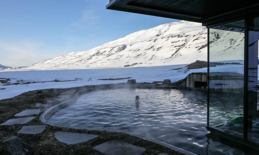 Deplar Farm, Troll Peninsula, iceland hotels, iceland deplar farm, iceland hotels, hotel design, black timber cladding, geothermal infinity pool, northern lights iceland, iceland resorts, iceland getaways, luxury getaways iceland, green roof, timber buildings, off grid cottage iceland