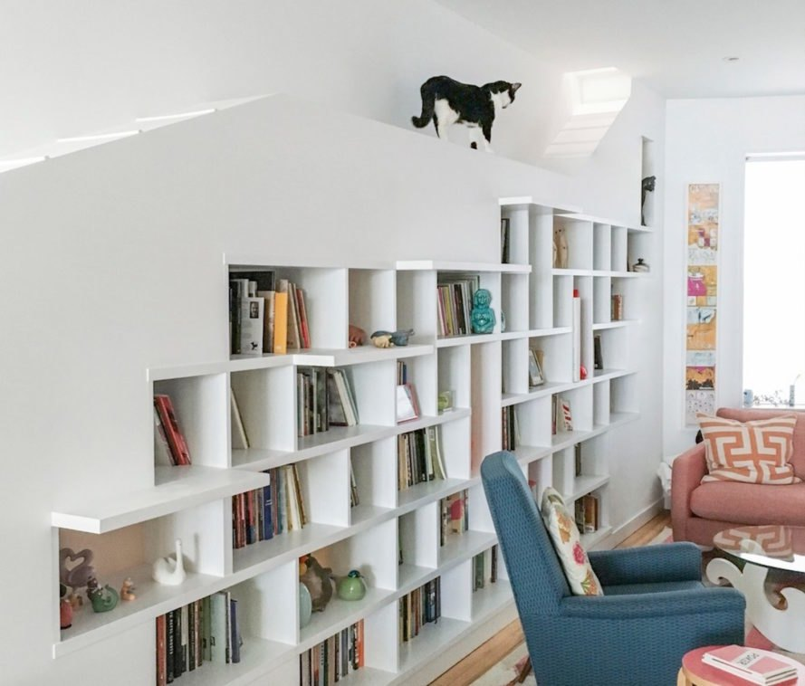 House for Booklovers and Cats by BFDO Architects, House for Booklovers and Cats in Brooklyn, House for Booklovers and Cats, row house renovation, homes designed for cats, cat architecture renovation, animal architecture, recycled materials in home renovation, Windsor Terrace row house renovation,