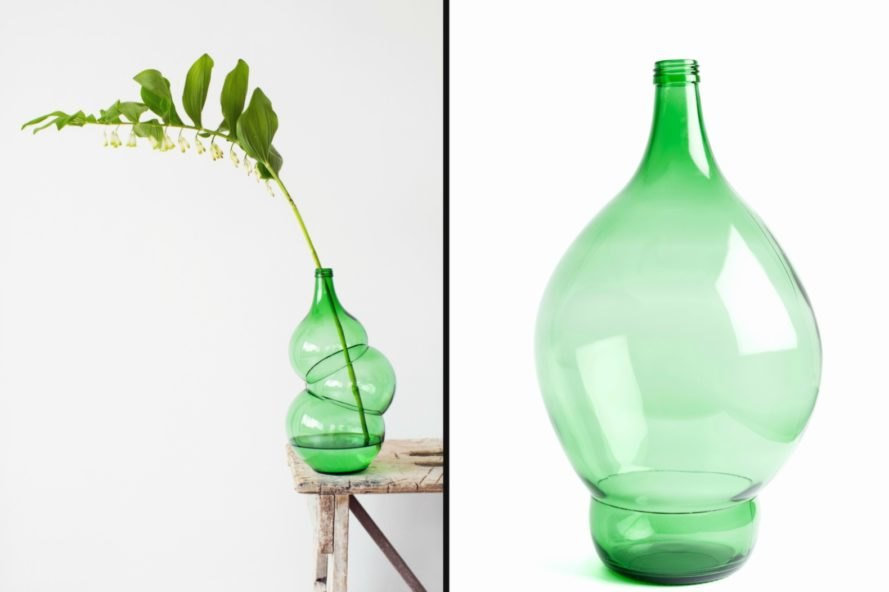 Klaas Kuiken, bottle design, glass vase design, interior design, glass blowing, glass art, ballon bottles, green bottle art, glass design, blown glass, compressed glass art, The Bottles Collection, glass-blowing techniques,