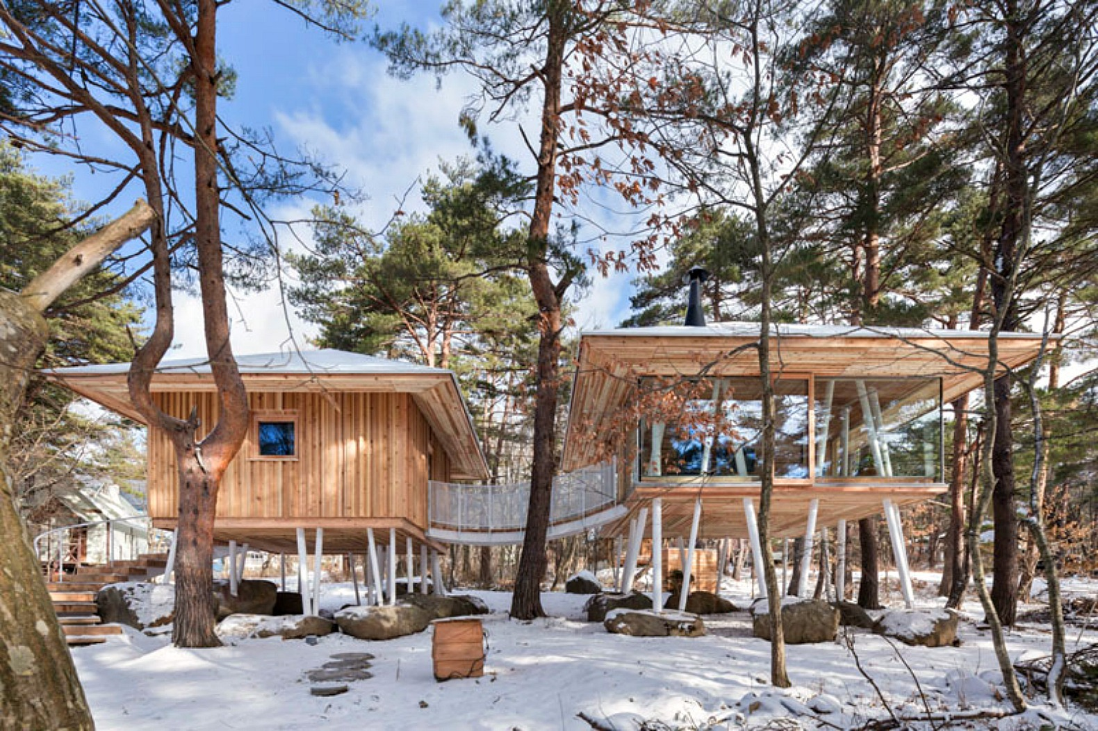 Beautiful cedar home stands high on stilts to accommodate heavy snowfall in  Japan