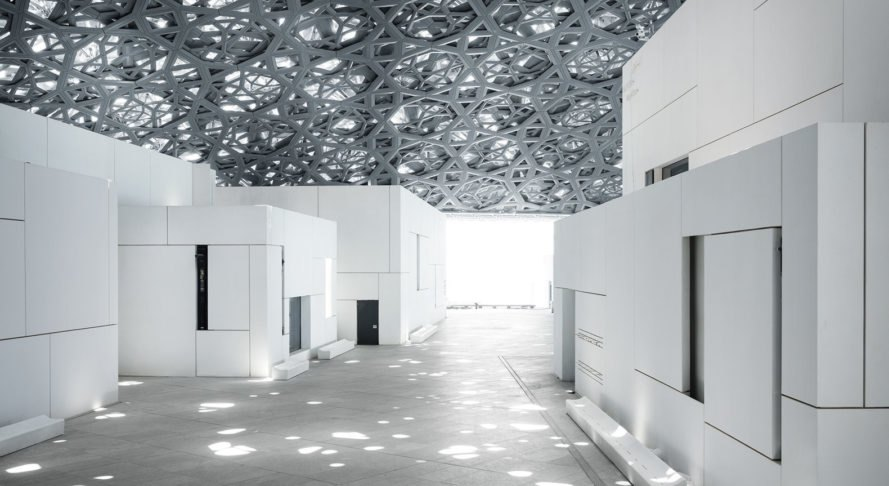 Louvre Abu Dhabi, museum, Abu Dhabi, Jean Nouvel, dome, green architecture, natural light, UAE, patterns, exhibition spaces