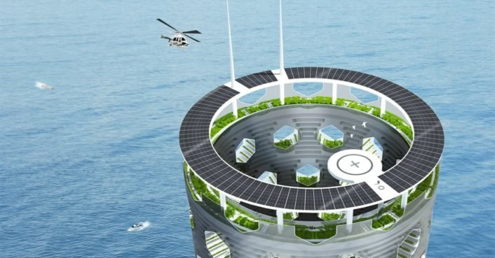Solar Vertical City Is A Self Contained Green Infused Tower Planted Into The Ocean Floor