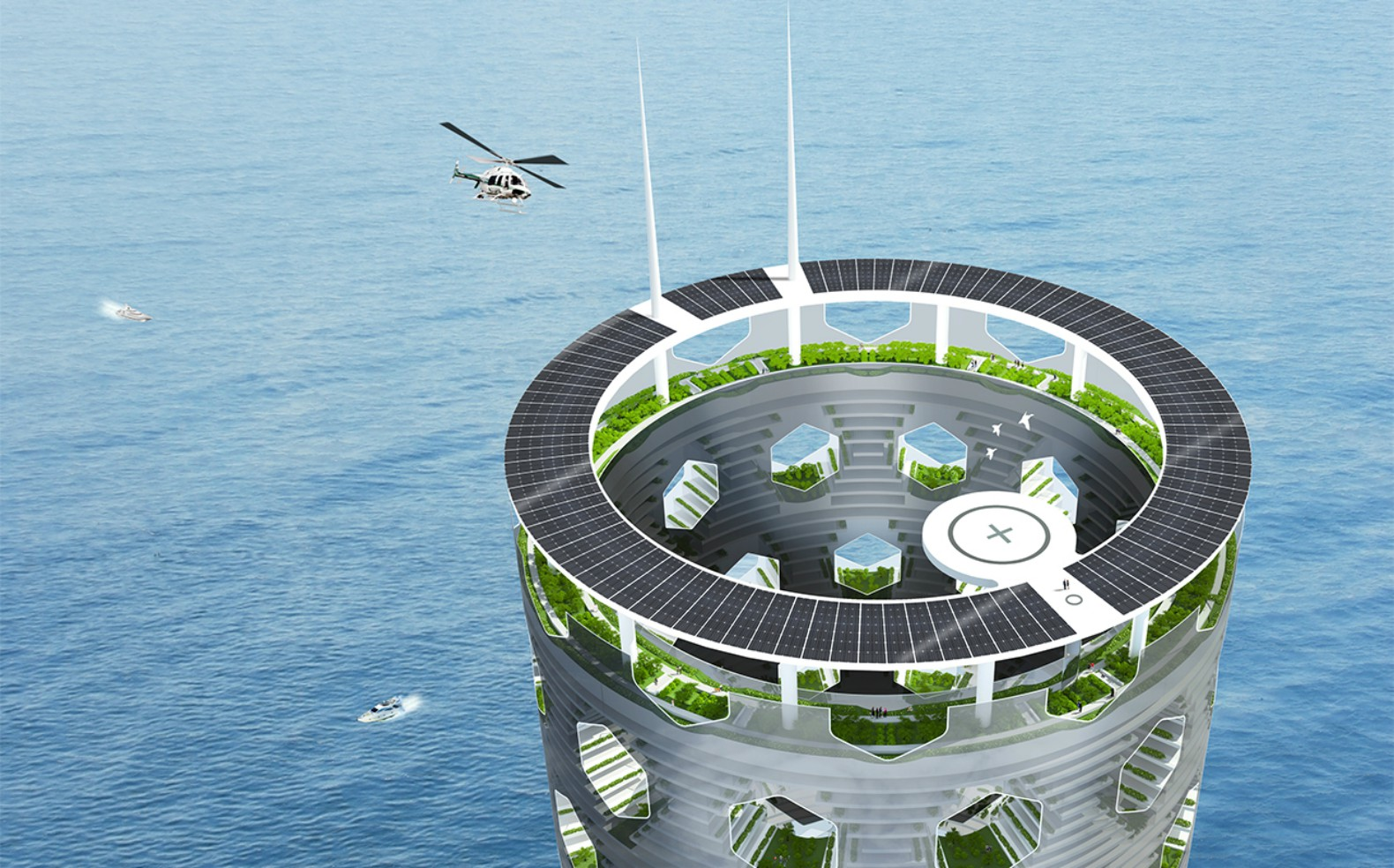 Solar Vertical City is a self-contained, green-infused tower planted into the ocean floor