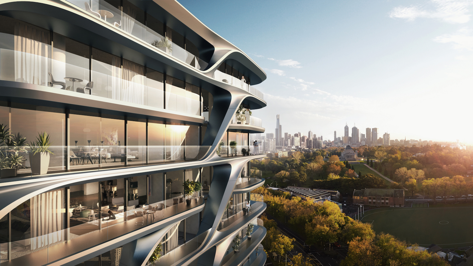 Zaha Hadid Architects unveils designs for wave-inspired Melbourne apartment tower