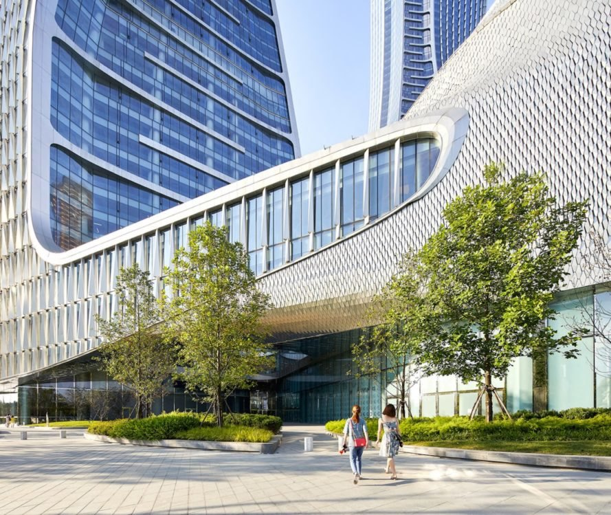 Raffles City Hangzhou, Raffles City Hangzhou by UNStudio, Superliving UNStudio, UNStudio China, Qianjiang New Town development, sustainable mixed use, sustainable urban design, Hangzhou urban design