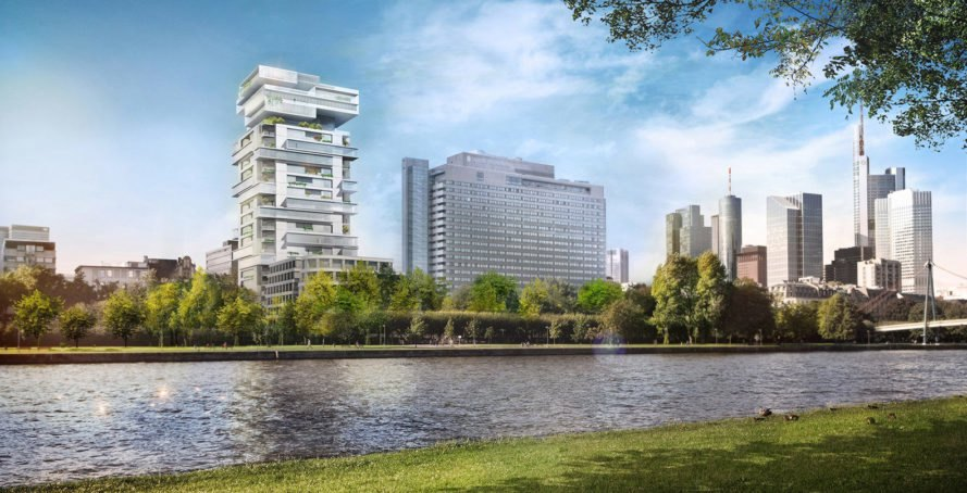 Riverpark Tower , modular architecture, residential tower, Frankfurt, Ole Scheeren, Buro Ole Scheeren, glass tower, green architecture, real estate, loft, Germany