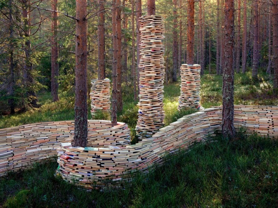 Rune Guneriussen, book art, book installation, light art, book sculptures, green art, earth art, literary art, sustainable artwork, nature art, Norway artists, norway forest art, forest art, light art, light installations in nature