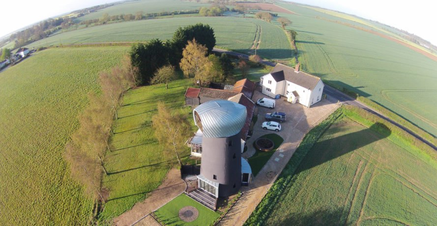 green conversion, windmill, Suffolk, England, Beech Architects, MetsaWood, observation pod, viewing platform, green architecture