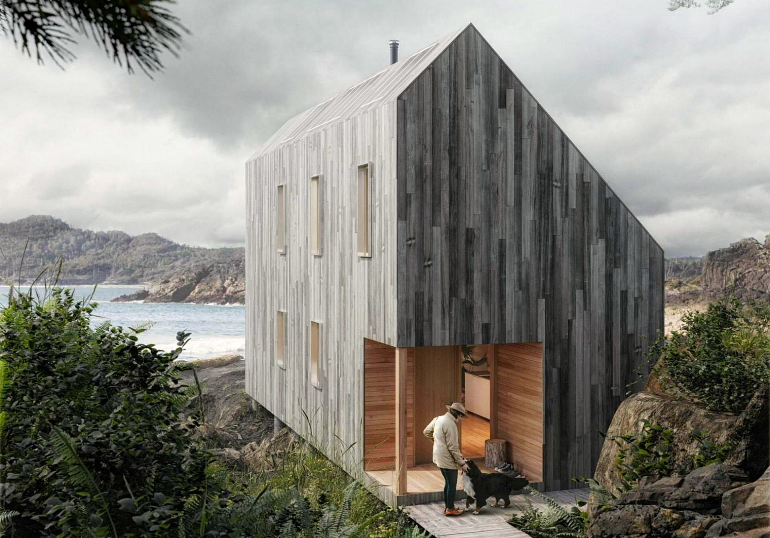 Affordable flat pack surf shack shelter operates completely off the grid inhabitat green - The cork hut a flexible housing alternative ...