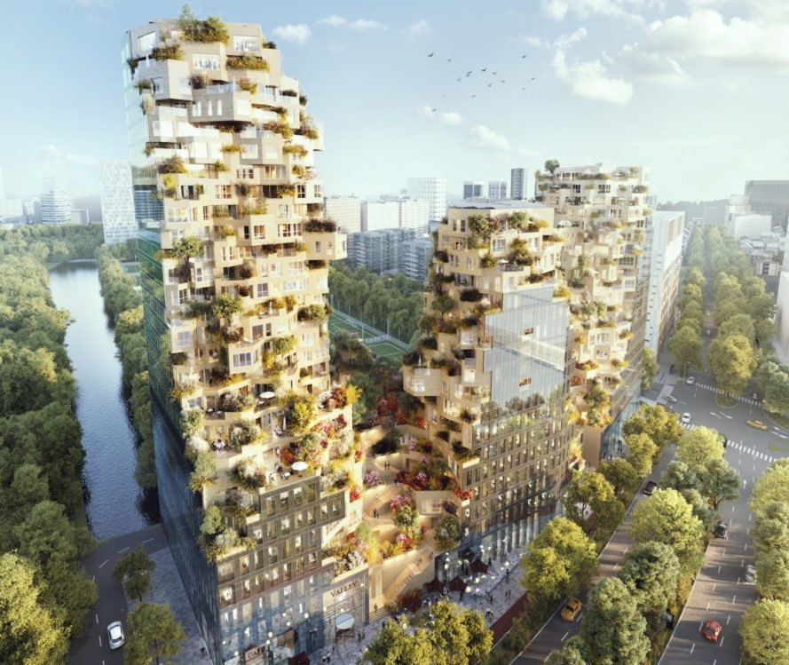 Valley by MVRDV, Valley Amsterdam by MVRDV, Valley MVRDV Piet Oudolf, Valley project by Piet Oudolf, Valley BREEAM-NL Excellent, Valley Zuidas project, Zuidas mixed use development, mountain inspired architecture, BREEAM-NL Excellent projects