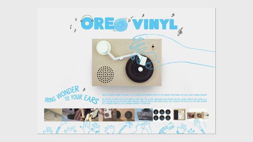 Dimension Plus, Oreo Vinyl, mini cardboard record player, The Golden Pin Design Award, innovative designs, oreo designs, edible record player, edible art, oreo vinyl campaign, innovative design, embossing techniques, packaging design,
