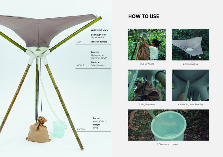 2017 Golden Pin Concept Design Award, AQUAIR by National Cheng Kung University students, fog harvesting collection, fog harvesting portable device, portable water collection system, centrifugal water collection