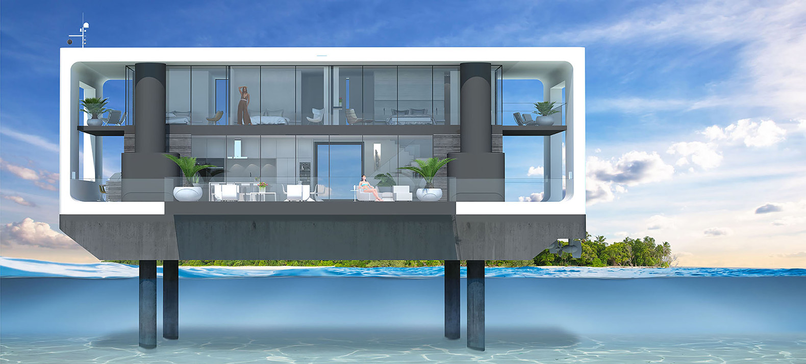 These hurricane proof floating homes are packed with green for Building a floating home