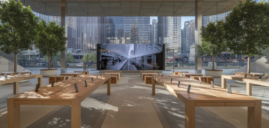Ultrathin Macbookshaped Roof Tops New Apple Store In Chicago - New apple store in chicago will have a giant macbook as its roof
