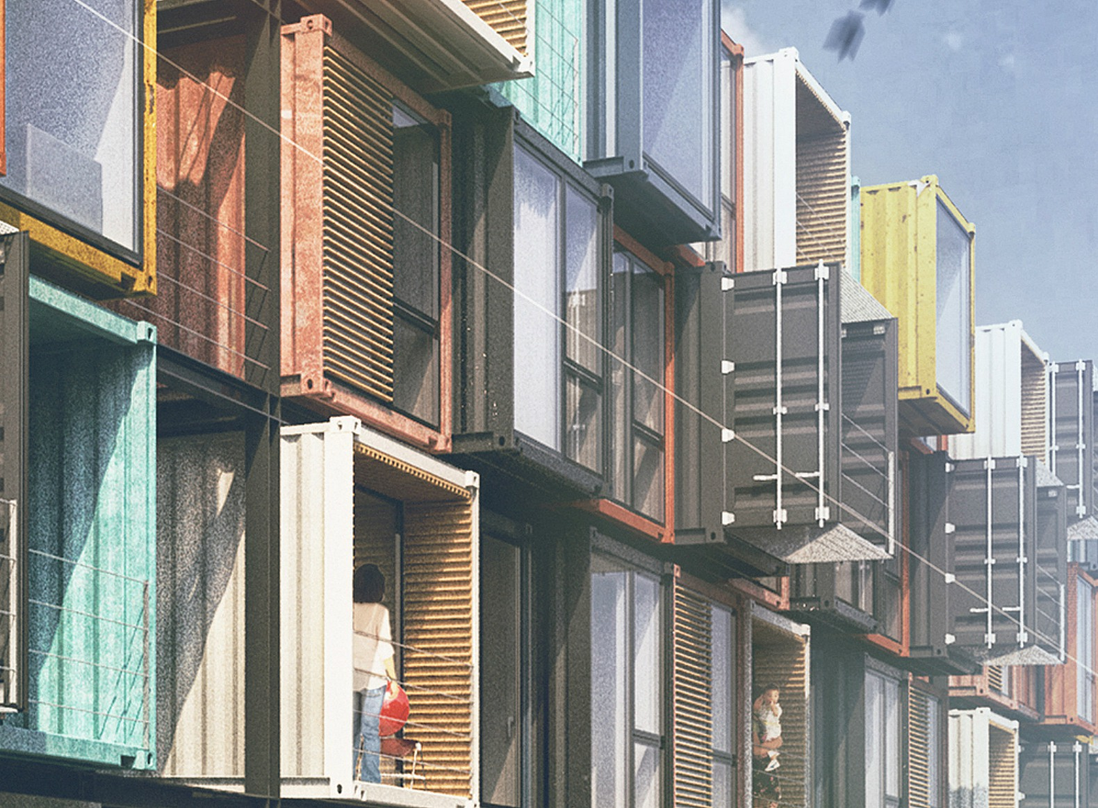 striking apartment complex is made of 48 raw shipping containers inhabitat green design. Black Bedroom Furniture Sets. Home Design Ideas