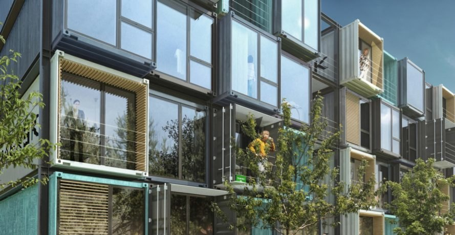 Striking apartment complex is made of 48 raw shipping containers ...