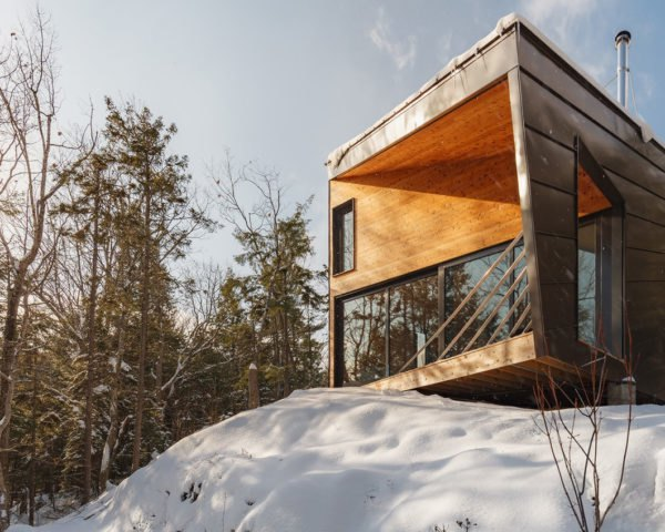 Cabin on a rock, timber structure, cabin, I-Kanda Architects, timber, green architecture, footprint, getaway