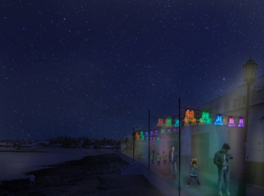 Fernando Menis, La Oliva, Canary Islands, Christmas lights, green christmas decorations, bottled water waste, recycled trash, beach garbage, LED Christmas Lights, LED Christmas Lights, plastic recycling