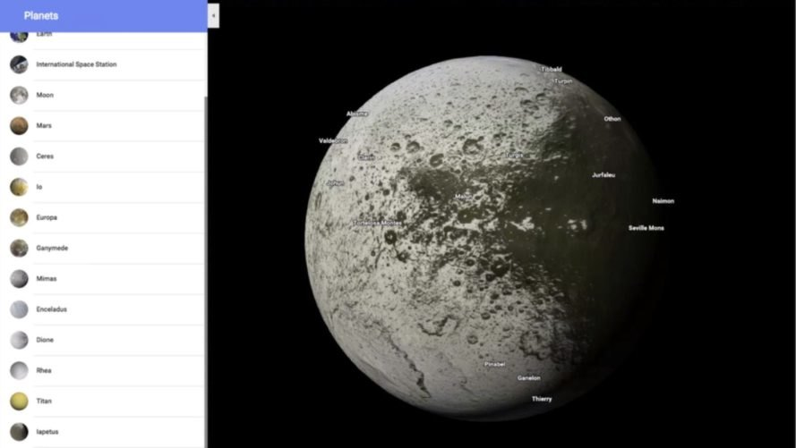 Google Maps, Google, Iapetus, Saturn moon