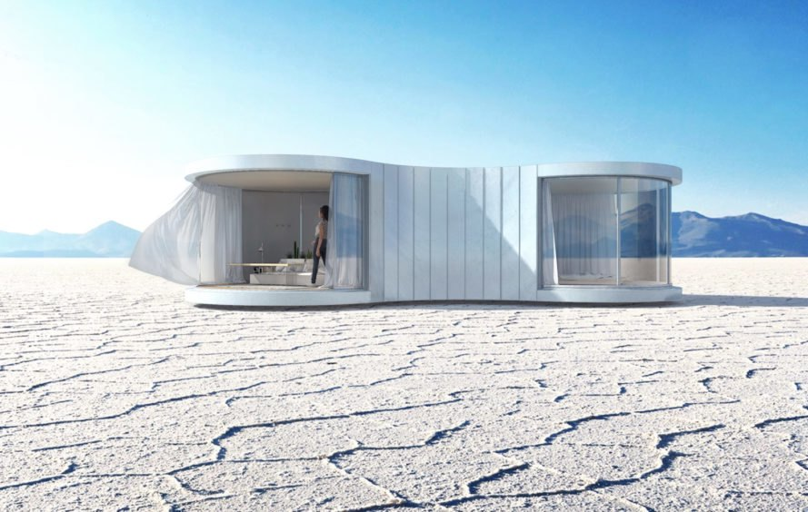 LUMISHELL by Christophe Benichou, LUMICENE glass, LUMISHELL pre-order, LUMISHELL architecture, Christophe Benichou, prefab glamping units, prefabricated architecture for travel, reversible window concept,