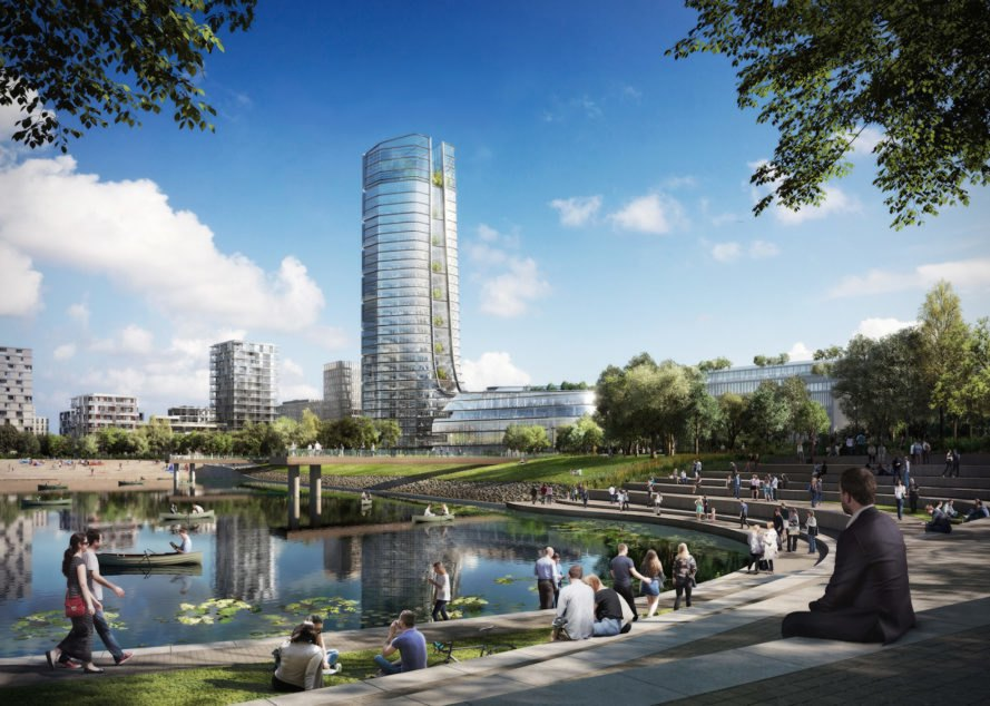 MOL Campus, MOL Campus Budapest, MOL Campus sustainability, Budapest tallest tower, Budapest office tower, sustainable office campus, sustainable office tower, MOL Campus by Foster + Partners, Foster + Partners office design, solar-powered office tower, sustainable architecture Budapest