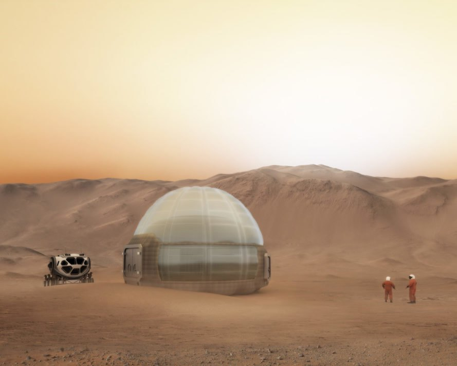 Mars Ice Home, Clouds AO, Space Exploration Architecture, SEArch, NASA, NASA Langley Research Center, Langley Research Center, International Space Station, Mars, Mars habitat, Mars dome, Mars dwelling, red planet, architecture, habitat, design, space