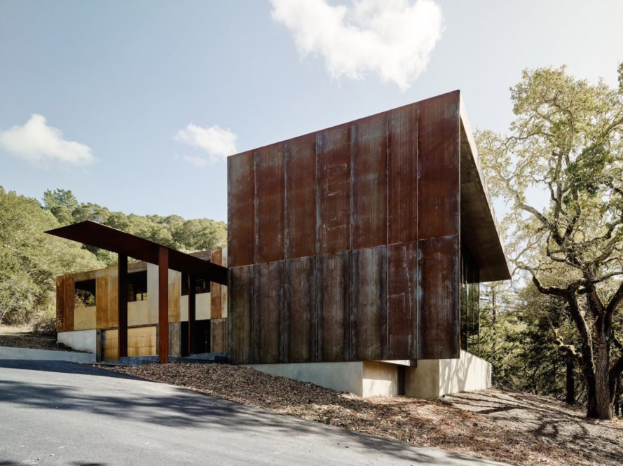 Weathering Steel Wraps Around A Solar Powered California Home