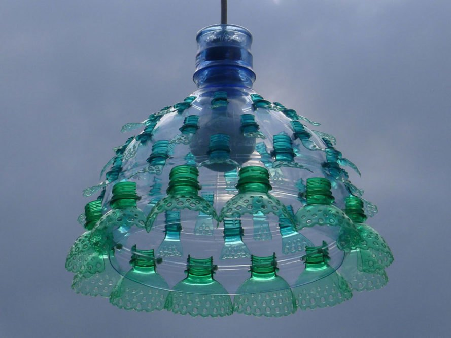 PET luminaries by Veronika Richterová, Veronika Richterová plastic art, recycled plastic bottle art, plastic bottle lights, plastic bottle chandeliers, chandeliers recycled materials