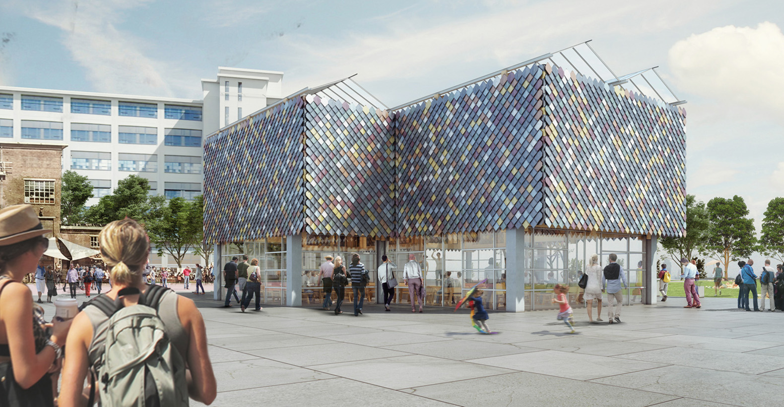 Colorful people s pavilion in eindhoven is made from 100 for Recycled building materials los angeles