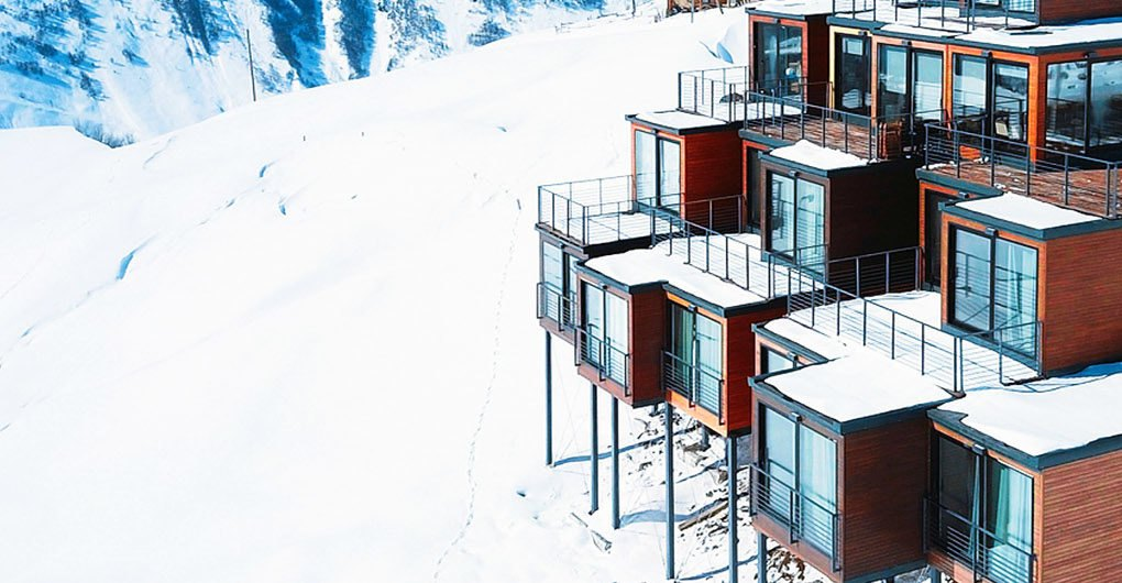 This Gorgeous Shipping Container Ski Resort Is Tucked Into